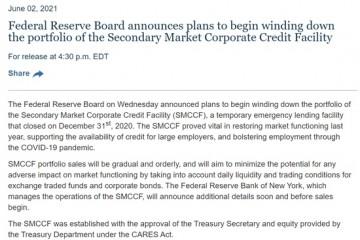 美联储为缩减QE做准备的又一证据撤走救助公司债工具今年逐步抛债136亿美元
