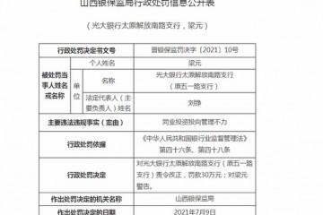 光大银行太原解放南路支行被罚30万同业投资投向管理不力